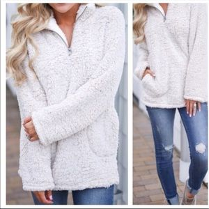 Sherpa fleece oatmeal high neck sweater pullover